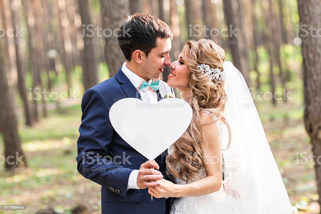happy Groom and Bride in a park with sign as stock photo