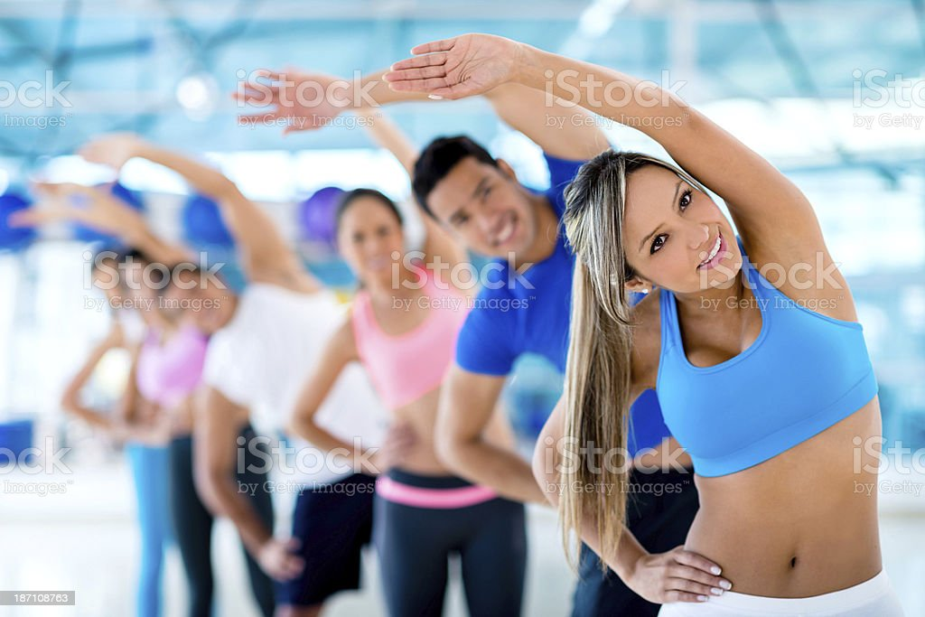 Happy group at the gym royalty-free stock photo