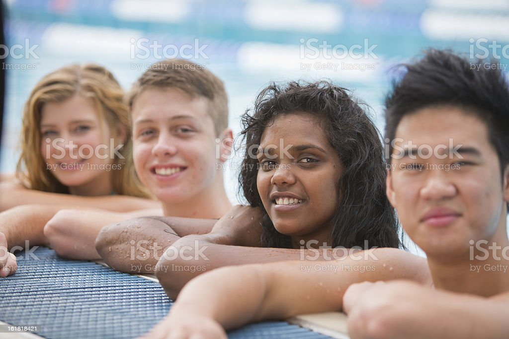 Happy Group at the Pool royalty-free stock photo