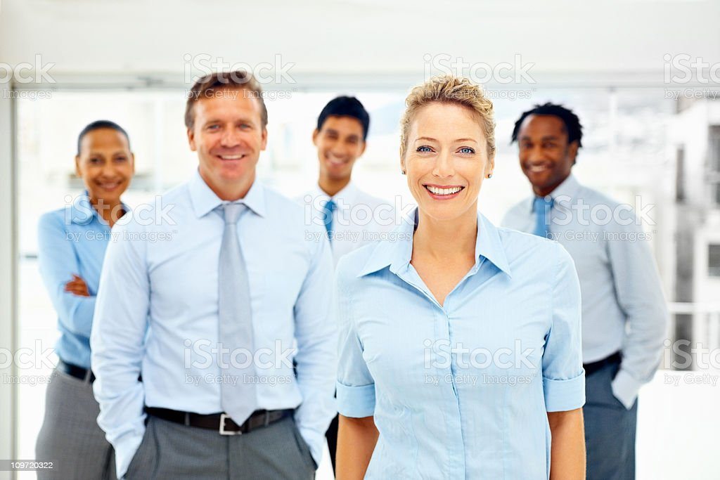 Happy group of business colleagues royalty-free stock photo