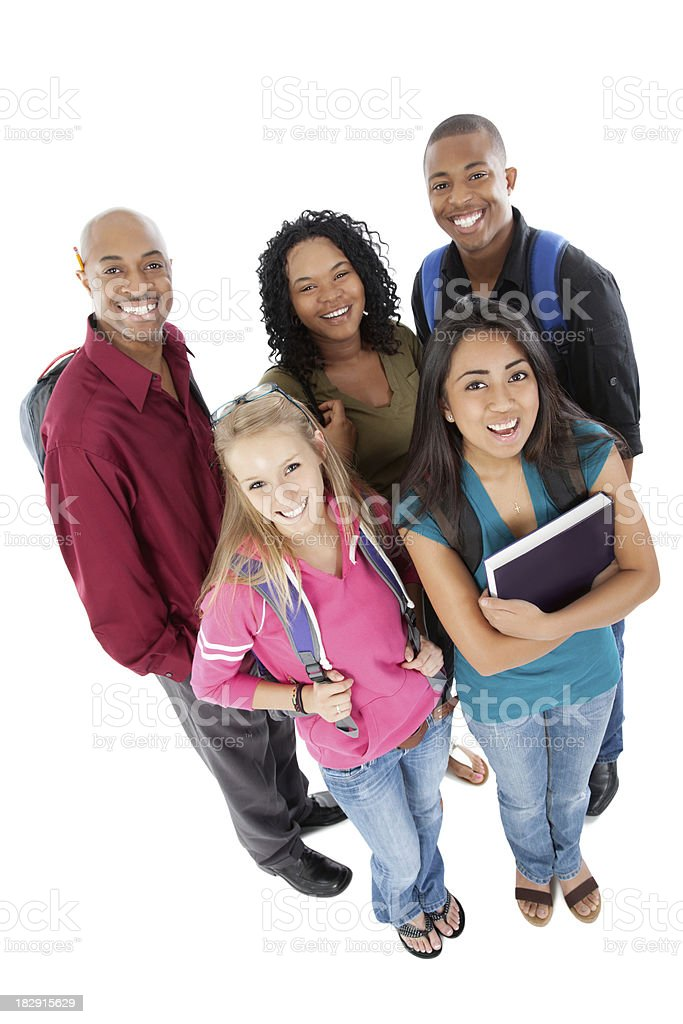 Happy Group of College Students, Full Body royalty-free stock photo