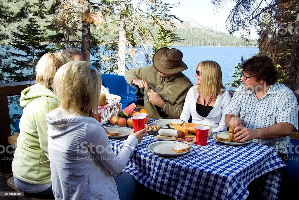 Happy group of friends enjoying picnic by the lake royalty-free stock photo