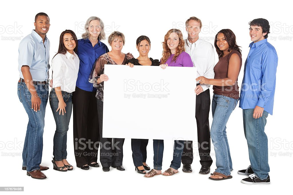 Happy Group of People Holding a Large Blank Sign royalty-free stock photo