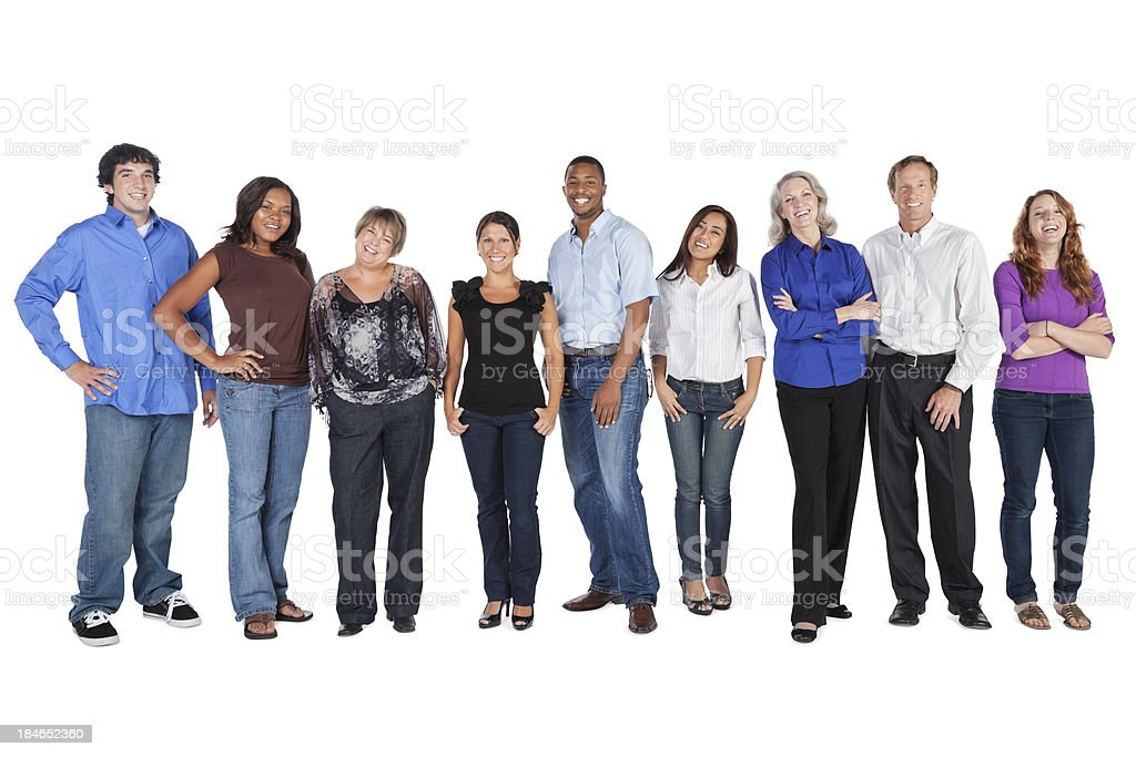 Happy Group of People Lined Up, Isolated on White royalty-free stock photo