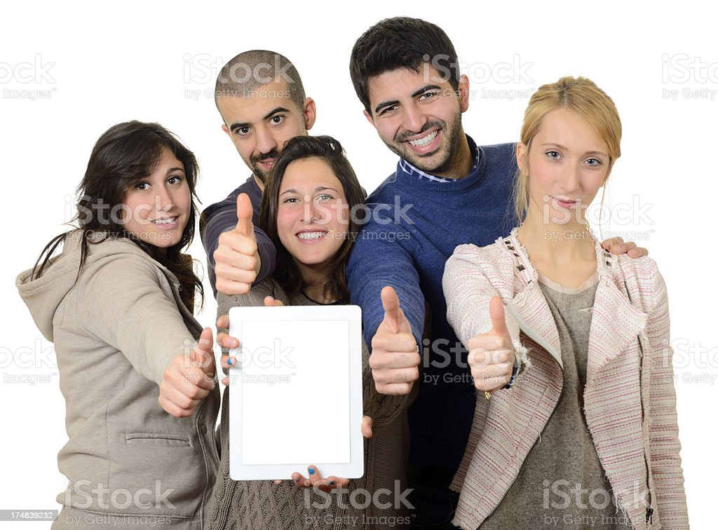 Happy Group of People W Digital Tablet Thumbs Up royalty-free stock photo