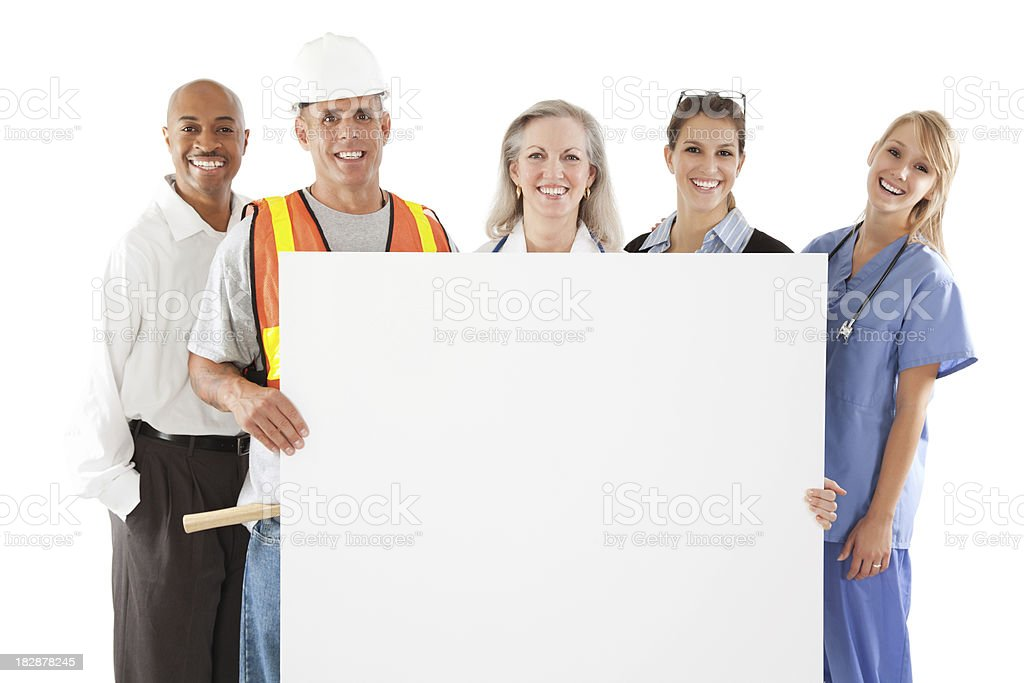Happy group of professionals holding large blank sign royalty-free stock photo