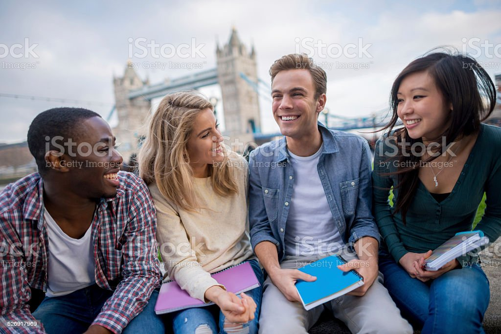 Happy group of students stock photo