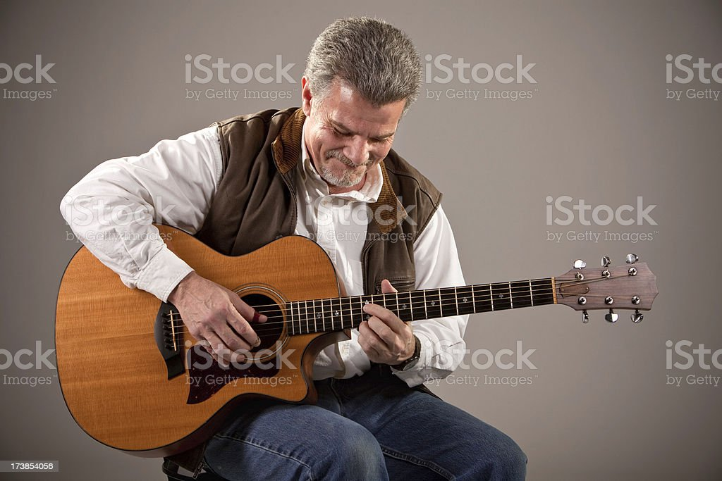 Happy Guitar Performer royalty-free stock photo