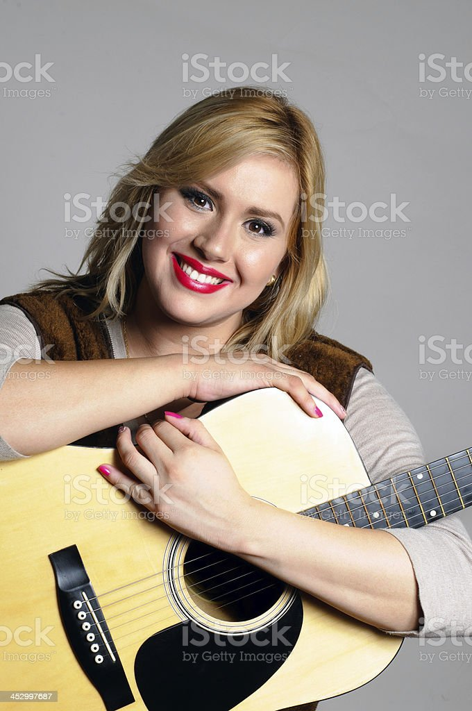 Happy guitar player royalty-free stock photo