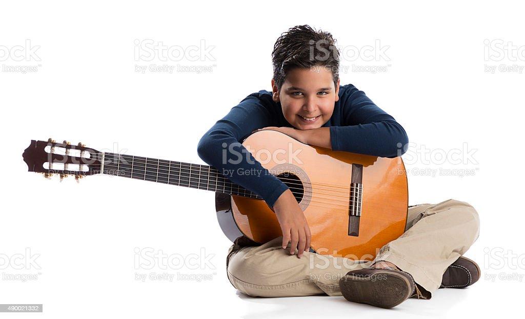 Happy Guitarist stock photo