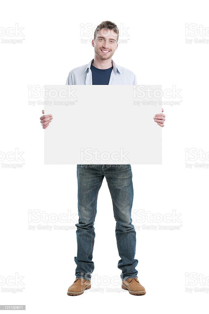 Happy guy holding placard stock photo
