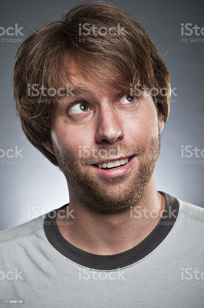 Happy Guy Looking Up Portrait royalty-free stock photo