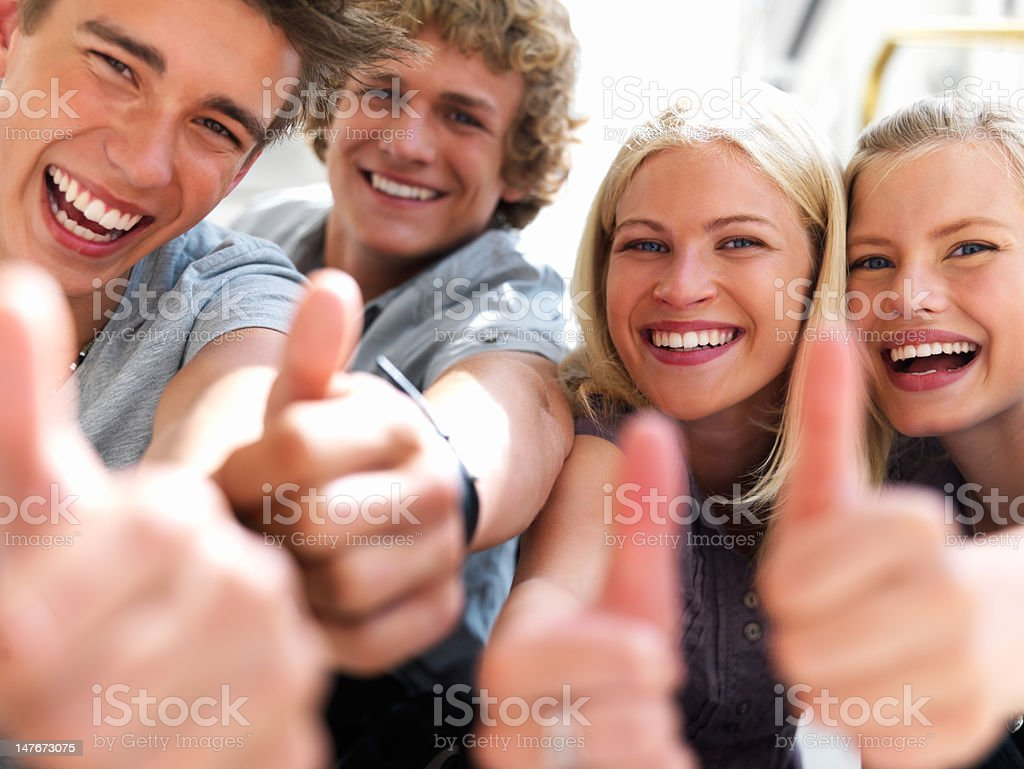 Happy guys and girls expressing happiness royalty-free stock photo