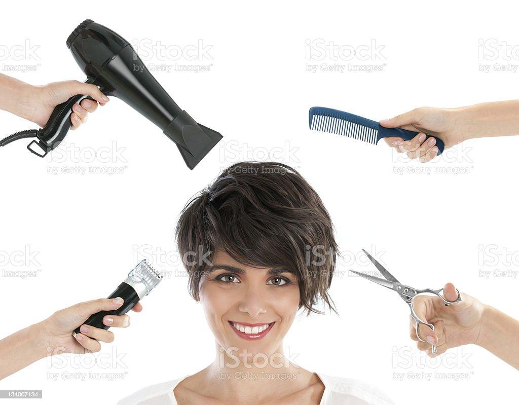 Happy hairdresser royalty-free stock photo