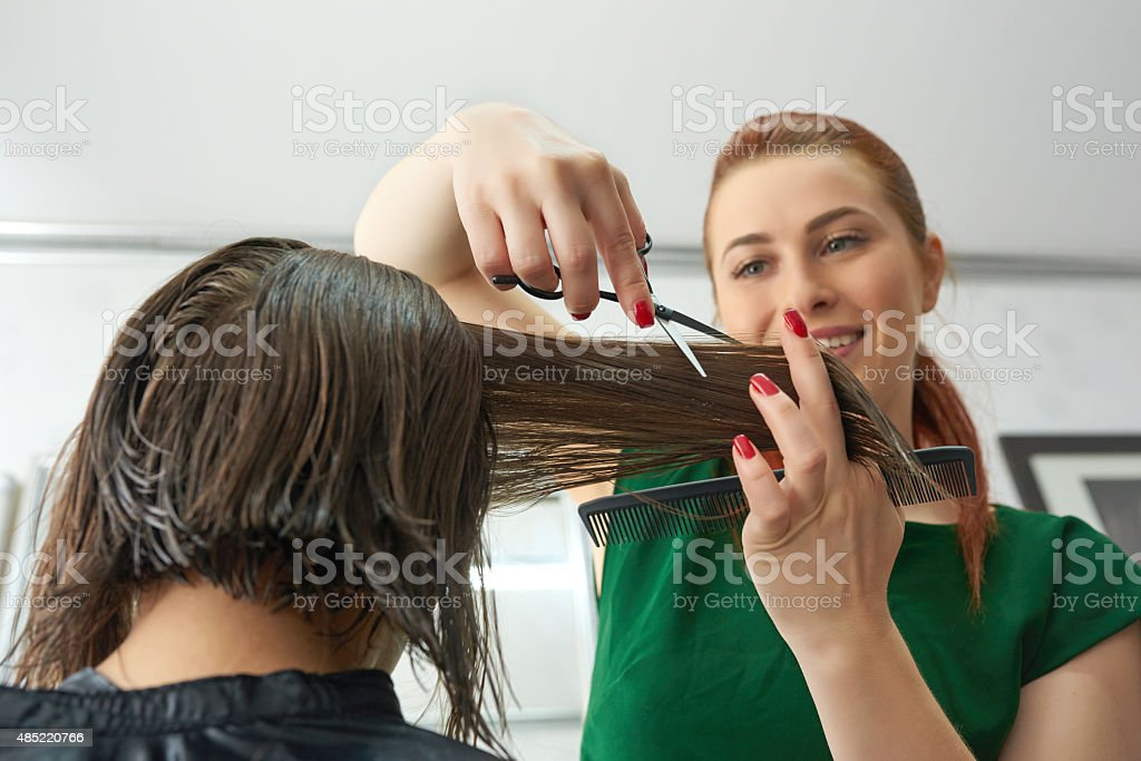 happy hairstyle is about to come stock photo