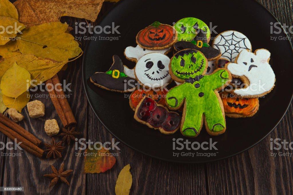 Happy Halloween cookies stock photo