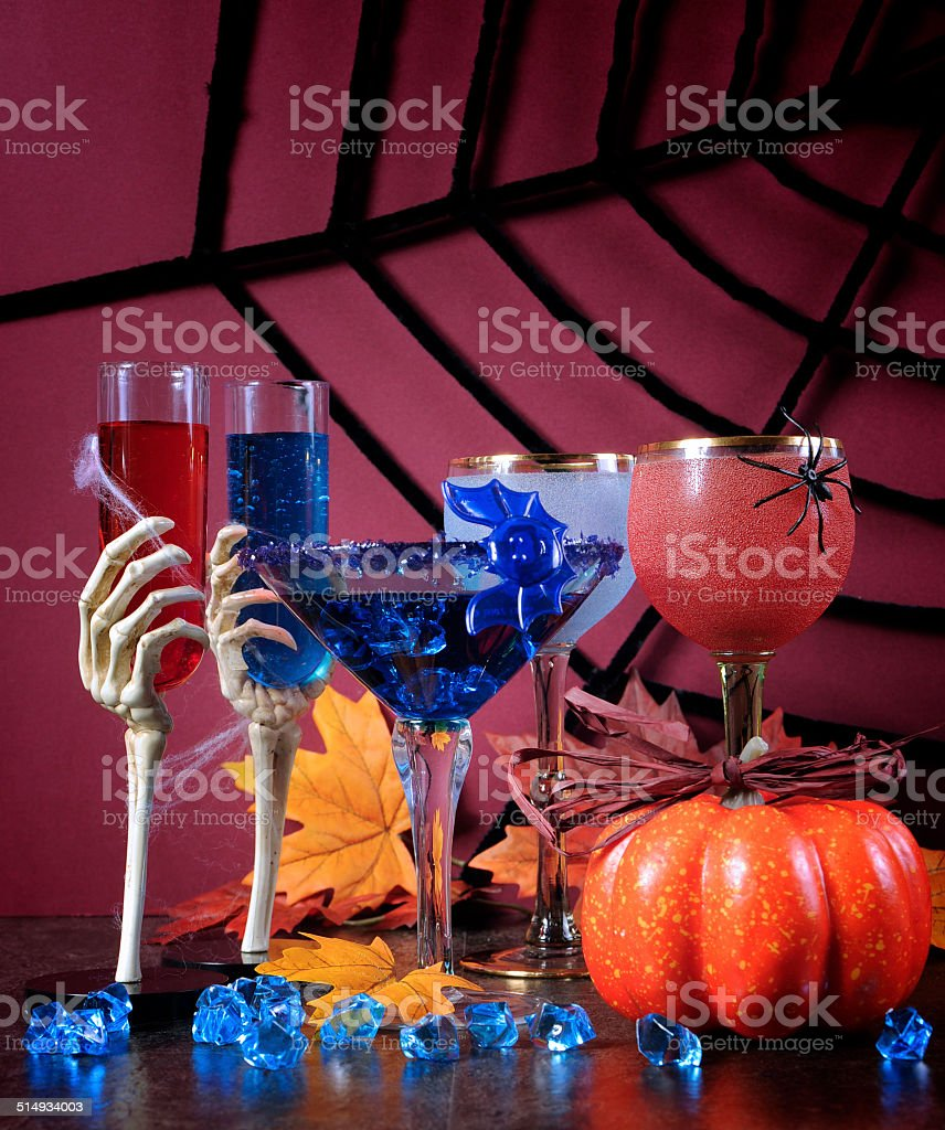 Happy Halloween ghoulish party cocktail drinks stock photo