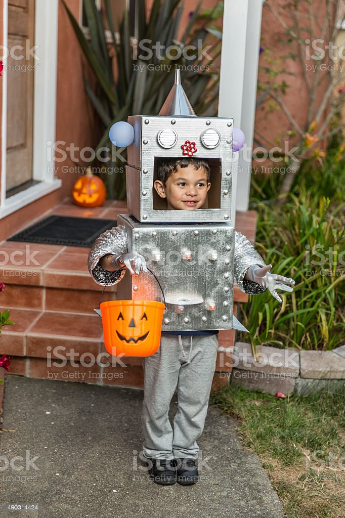 Happy Halloween: Little Boy Robot for Trick or Treating stock photo