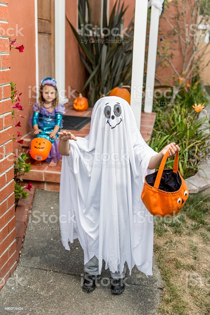 Happy Halloween: Little Kids Ready to Trick or Treat stock photo