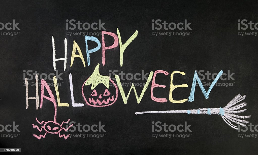 Happy Halloween message on blackboard royalty-free stock photo
