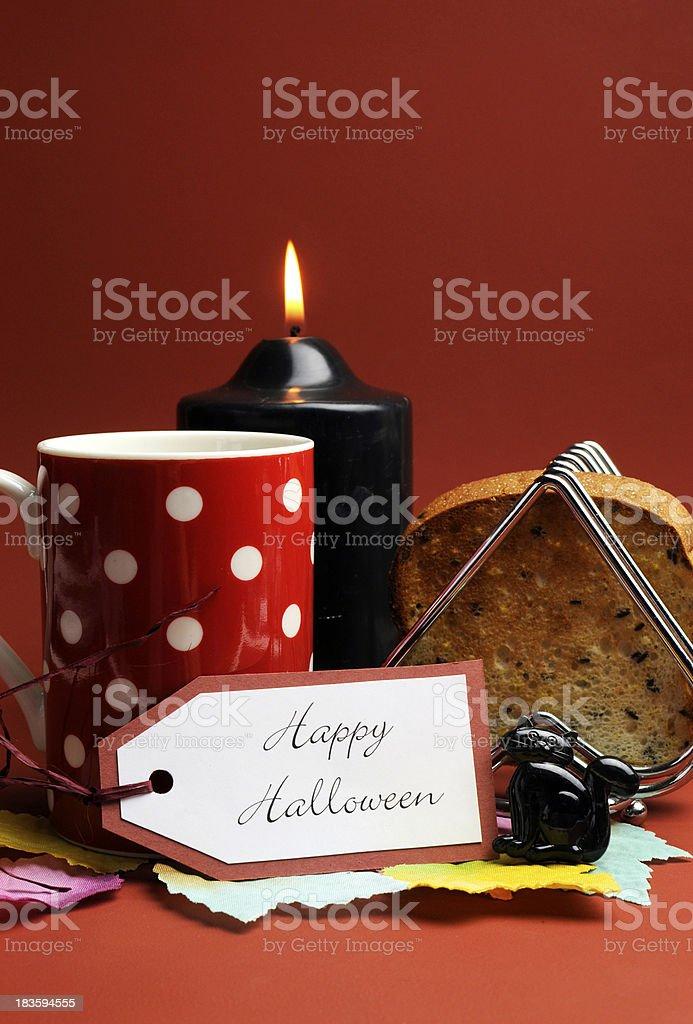 Happy Halloween morning breakfast stock photo