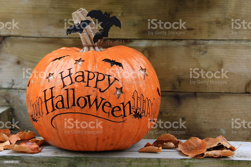 Happy Halloween pumpkin stock photo