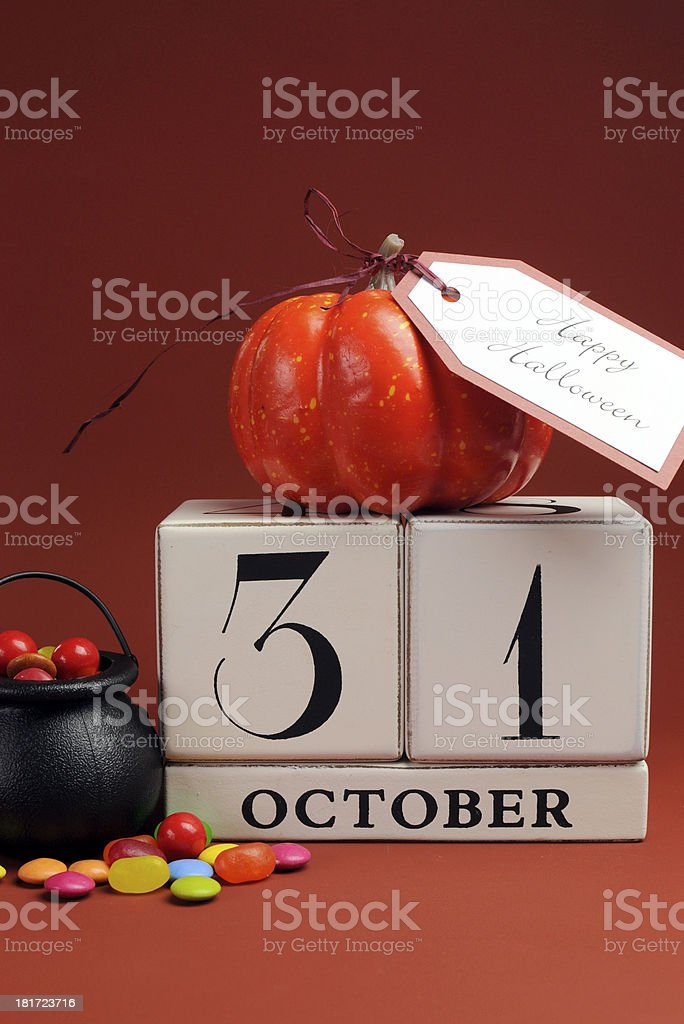 Happy Halloween save the date calendar for October 31 stock photo