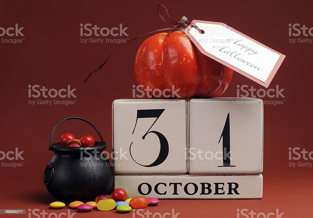 Happy Halloween save the date calendar stock photo