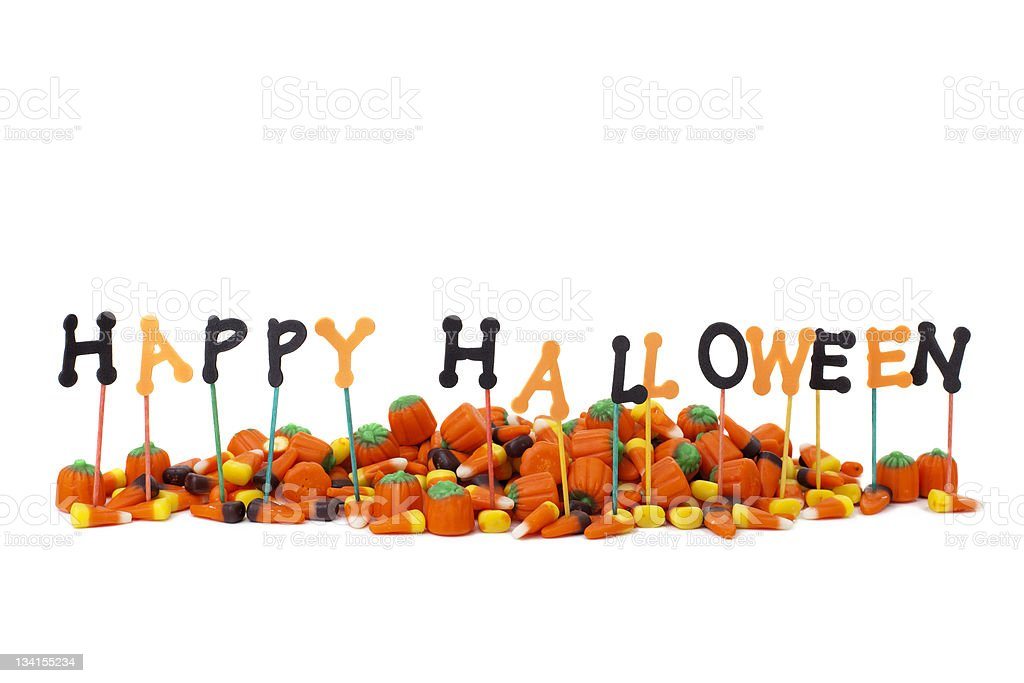 Happy Halloween sign on white, copy space stock photo