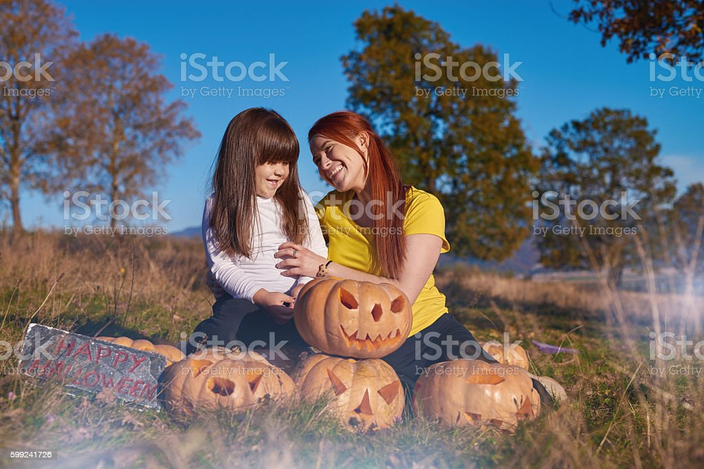 happy Halloween with my daughter stock photo