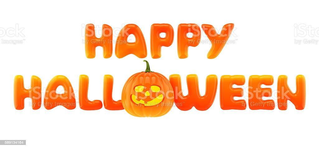 Happy Halloween words with jack-o-lantern stock photo