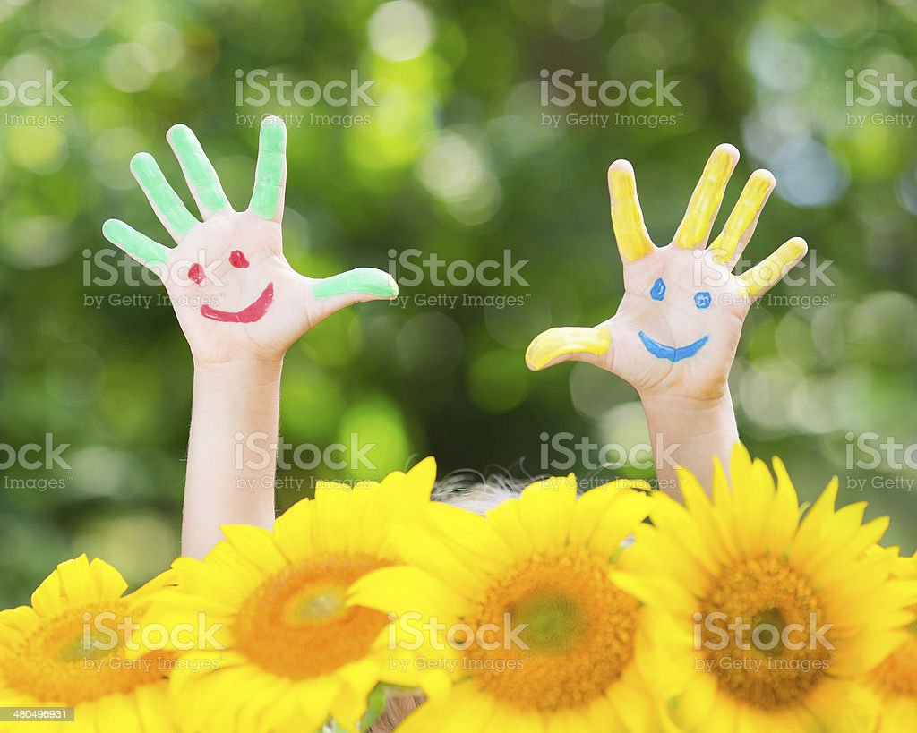 Happy hands stock photo