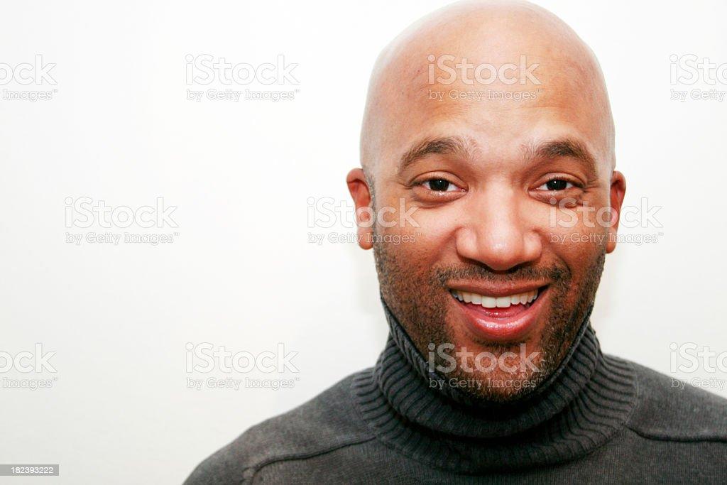 Happy Handsome Bald Businessman stock photo