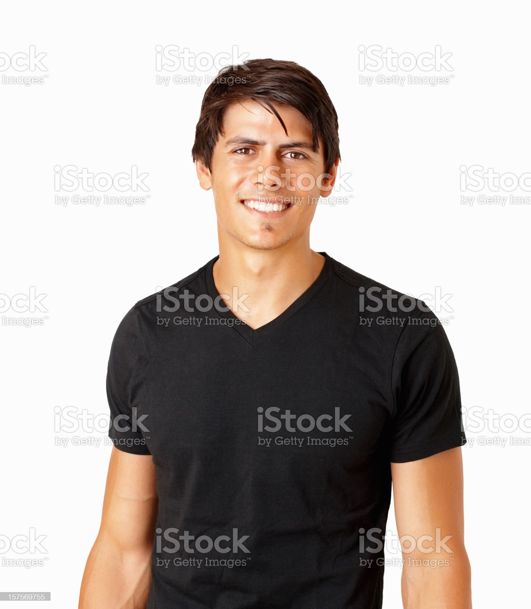 Happy handsome guy in black isolated on white royalty-free stock photo
