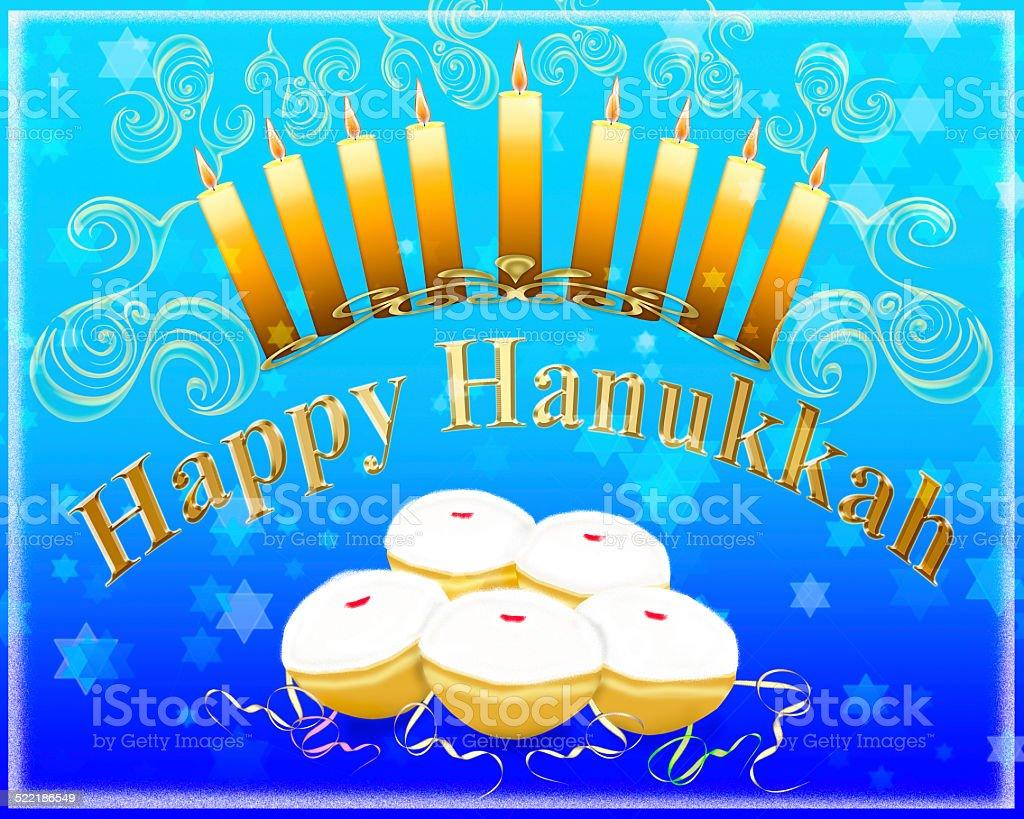 Happy Hanukkah greeting card stock photo