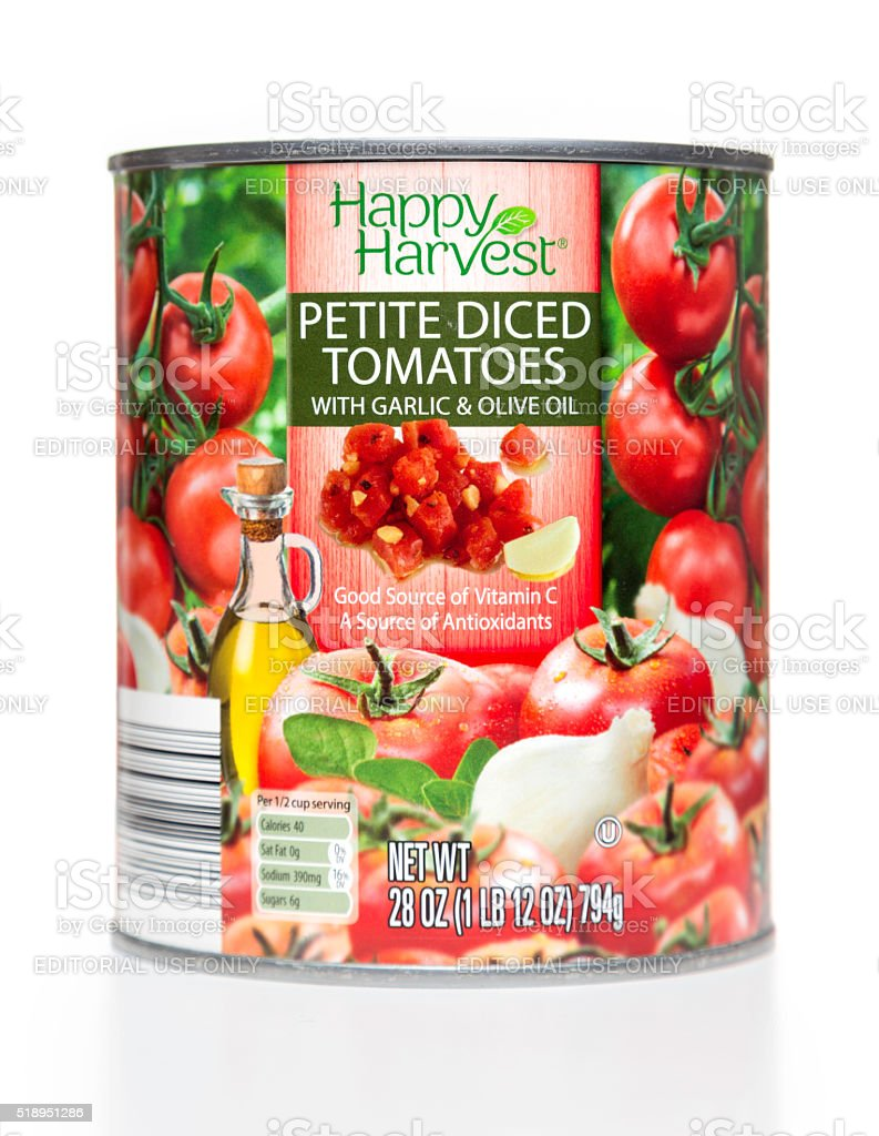 Happy Harvest Petite Diced Tomatoes can stock photo