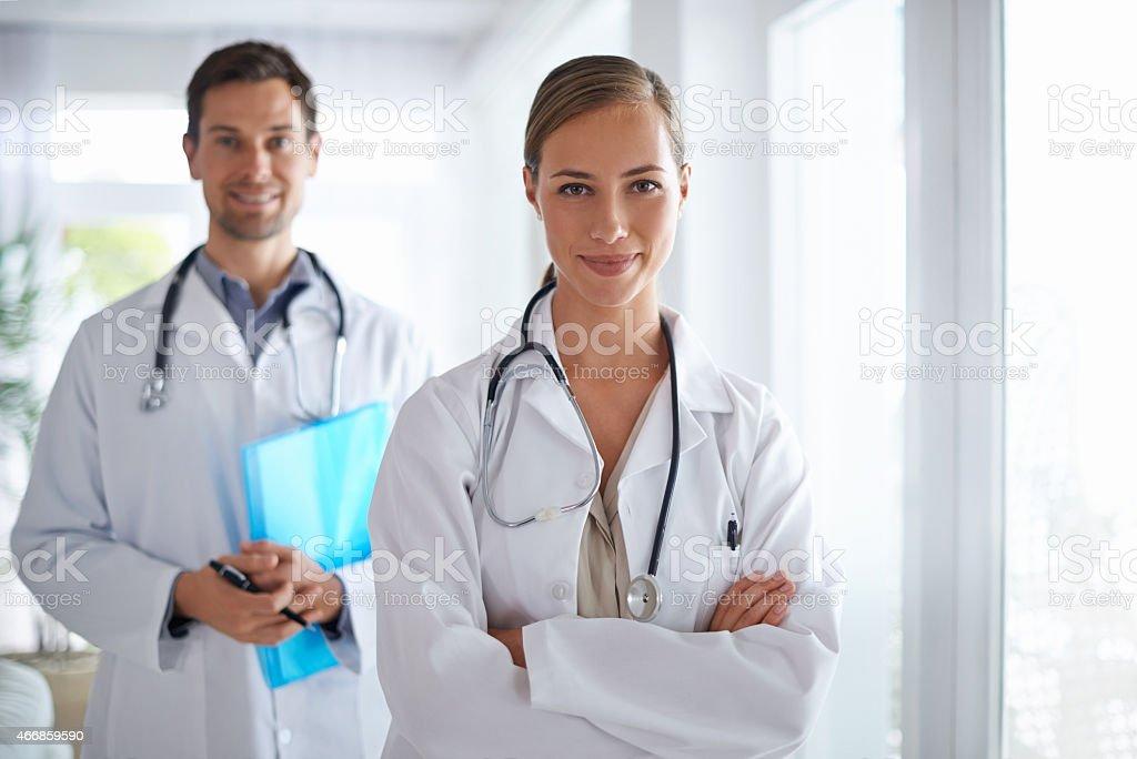Happy health team stock photo