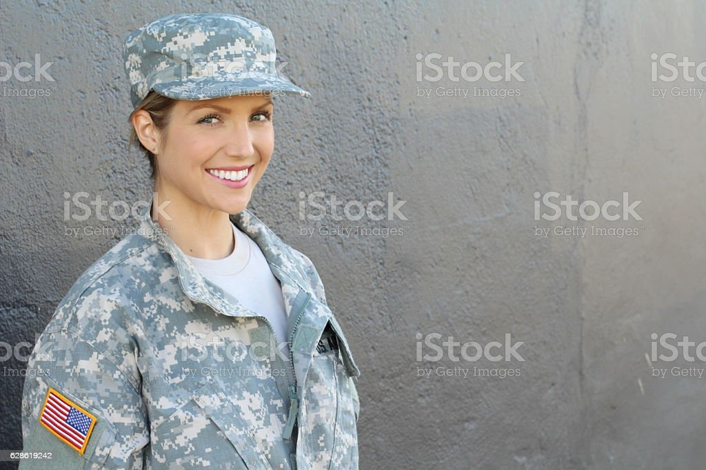Happy healthy army female soldier stock photo