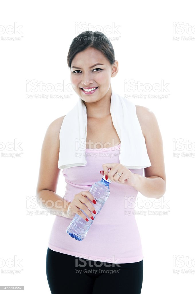 Happy Healthy Young Woman Holding Bottle stock photo