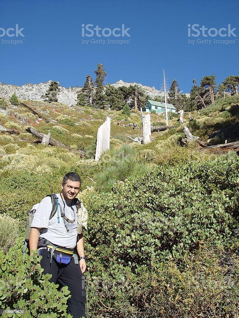 Happy Hiker Descending stock photo