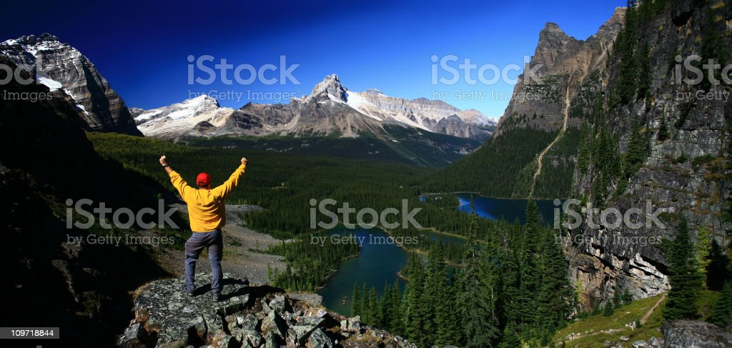 Happy Hiker in the Mountains stock photo