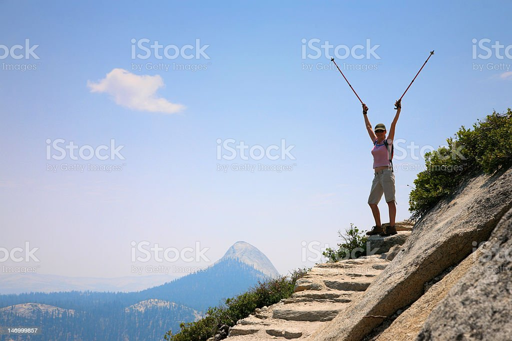 Happy hiker royalty-free stock photo