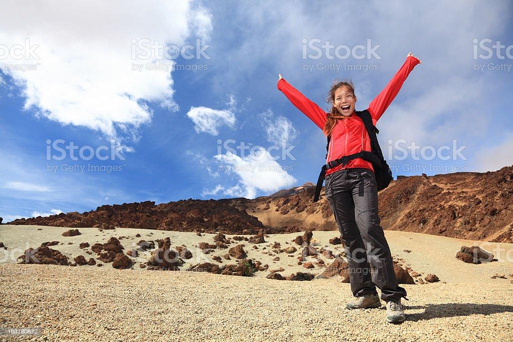 Happy hiker royalty-free stock photo