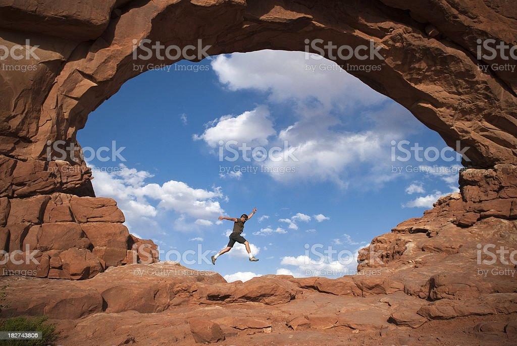 Happy Hiker stock photo
