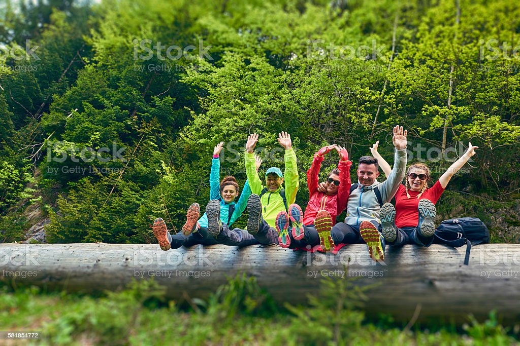 happy hiking time with my friends stock photo
