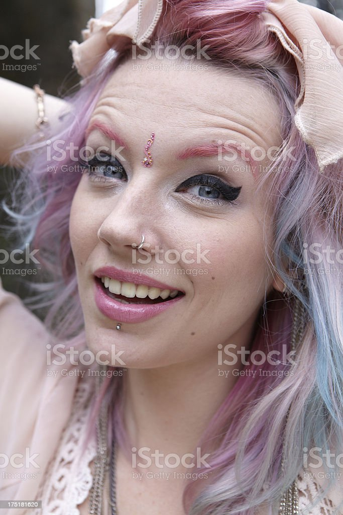 Happy Hippy girl in Pink royalty-free stock photo