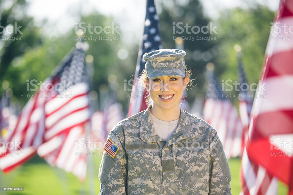 Happy hispanic American Female Soldier stock photo