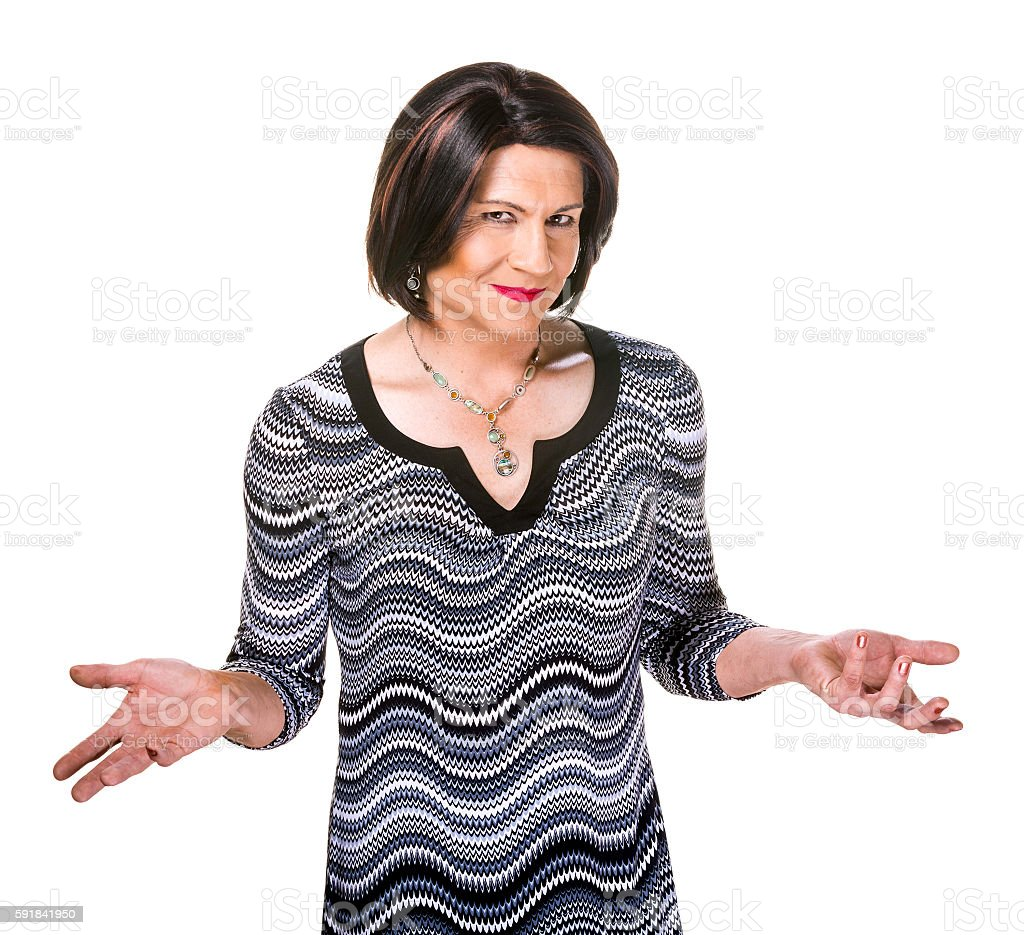 Happy Hispanic Transgender Woman Gesturing stock photo