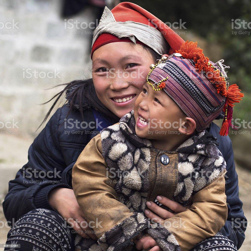 Happy Hmong Hill Tribe Woman and Child, Sapa, Vietnam stock photo