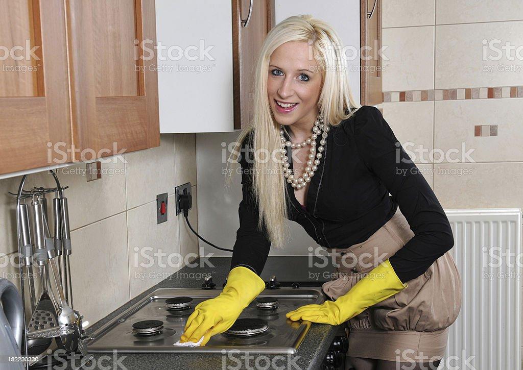 Happy Hob Cleaner royalty-free stock photo